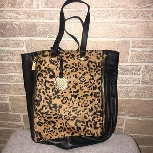 Vince Camuto Black Leather Calfhair Leopard  Tote
